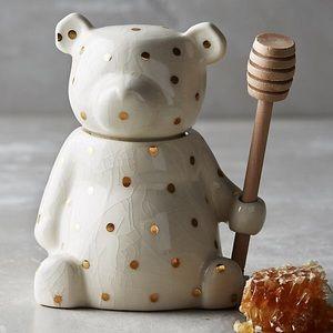 Anthropologie gold dot ceramic honey bear jar